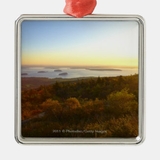 Sunrise at Cadillac Mountain with Hikers Silver-Colored Square Ornament