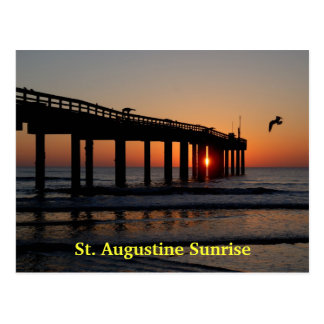 Sunrise At Fishing Pier Postcard