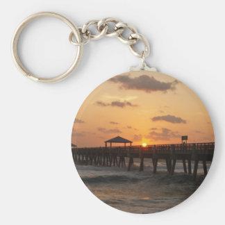Sunrise at Juno Beach Pier Basic Round Button Keychain