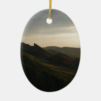 Sunrise at Red Rocks Colorado Ceramic Oval Ornament
