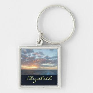 Sunrise at Sea I Pastel Seascape Silver-Colored Square Keychain