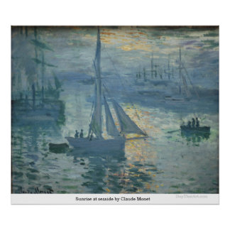 Sunrise at seaside by Claude Monet Poster