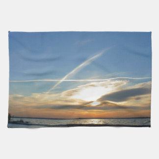 Sunrise at the lake towels