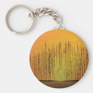 Sunrise Behind the Trees Basic Round Button Keychain