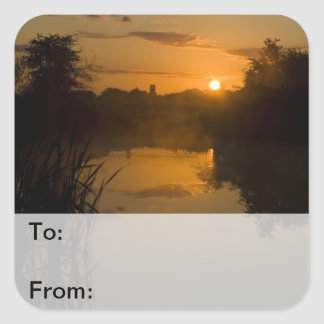 Sunrise by a lake Gift Tags