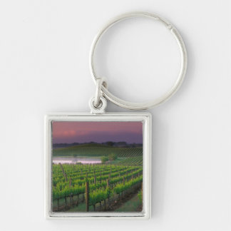 Sunrise color in the distant fog behind Silver-Colored square keychain