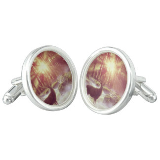 Sunrise Deer in Woods Silver Cufflinks