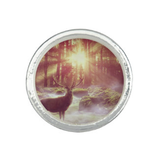 Sunrise Deer in Woods Silver Ring