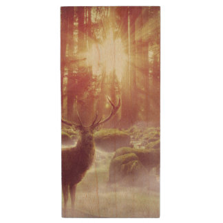 Sunrise Deer in Woods Wood USB Flash Drive