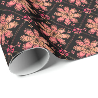 Sunrise Exotic Lotus Flower Watercolor Black Wrapping Paper