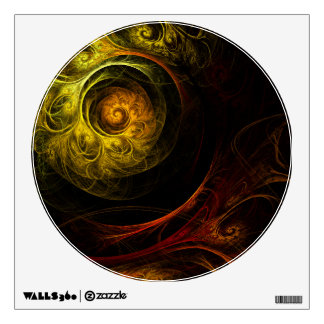 Sunrise Floral Red Abstract Art Circle Wall Sticker