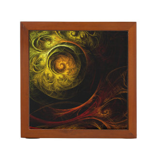 Sunrise Floral Red Abstract Art Desk Organizer