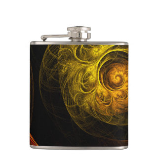 Sunrise Floral Red Abstract Art Flasks