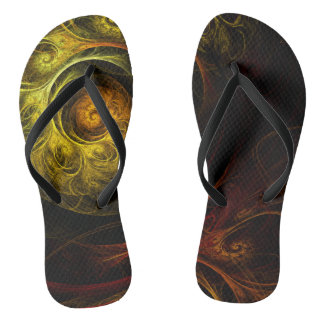 Sunrise Floral Red Abstract Art Flip Flops