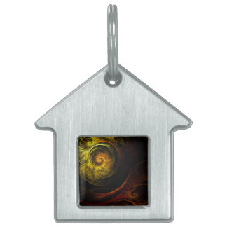 Sunrise Floral Red Abstract Art House Pet ID Tag