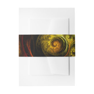 Sunrise Floral Red Abstract Art Invitation Belly Band
