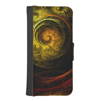 Sunrise Floral Red Abstract Art iPhone SE/5/5s Wallet Case
