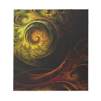 Sunrise Floral Red Abstract Art Notepad
