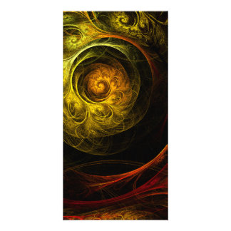 Sunrise Floral Red Abstract Art Photo Card