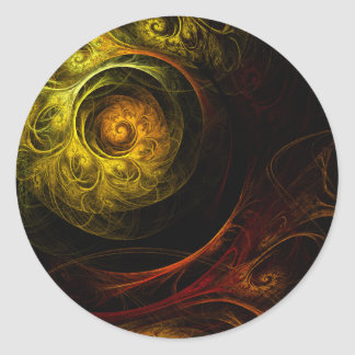 Sunrise Floral Red Abstract Art Round Sticker