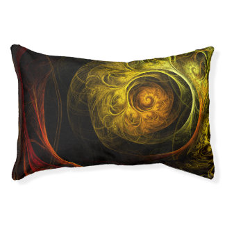 Sunrise Floral Red Abstract Art Small Dog Bed