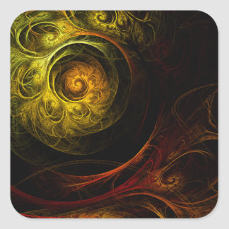 Sunrise Floral Red Abstract Art Square Sticker