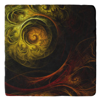 Sunrise Floral Red Abstract Art Stone Trivet