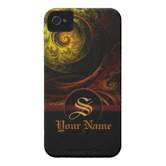 Sunrise Floral Red Monogram iPhone 4 / 4S iPhone 4 Case-Mate Cases