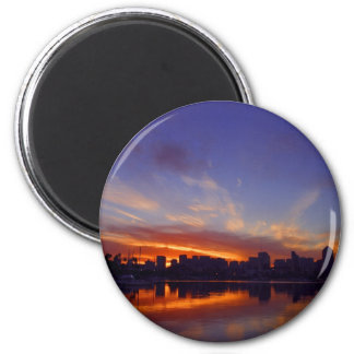 Sunrise From San Diego Bay 2 Inch Round Magnet