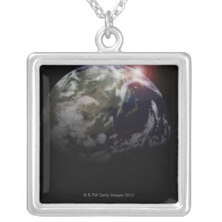 Sunrise from Space Silver Plated Necklace