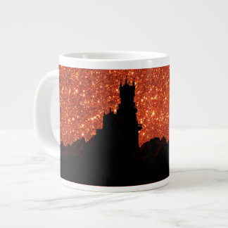 Sunrise glitter, dragon, dark mountain Castle Large Coffee Mug