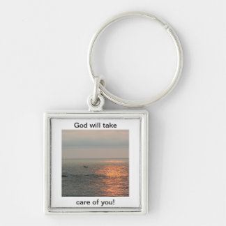 Sunrise, God will take care of you! Silver-Colored Square Keychain