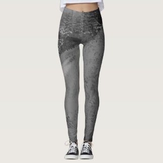 Sunrise Gray Abstract Painting - Leggings