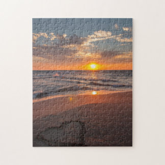 Sunrise Heart In Sand Jigsaw Puzzle