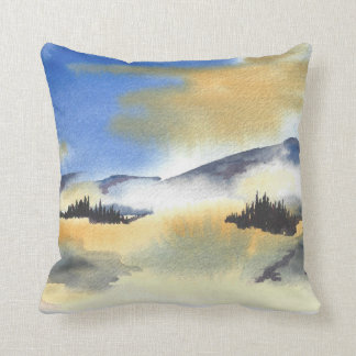 Sunrise in blue and yellow landscape. Watercolor Throw Pillow