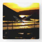 Sunrise in Greece Square Wall Clock
