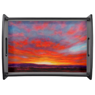 Sunrise in Mountains of Montana Serving Tray