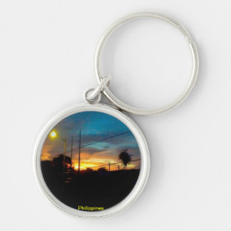 sunrise in the Philippines Silver-Colored Round Keychain