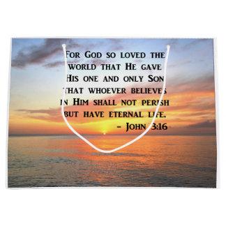 SUNRISE JOHN 3:16 INSPIRING PHOTO LARGE GIFT BAG