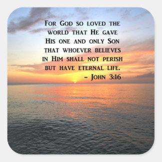 SUNRISE JOHN 3:16 INSPIRING PHOTO SQUARE STICKER