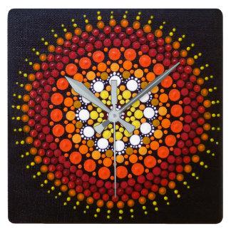 Sunrise Mandala Square Clock