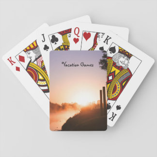 Sunrise & mist on the river playing cards