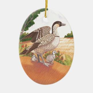 Sunrise Nene (Hawaiian Goose) Ceramic Oval Ornament
