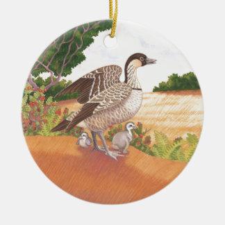 Sunrise Nene (Hawaiian Goose) Round Ceramic Ornament