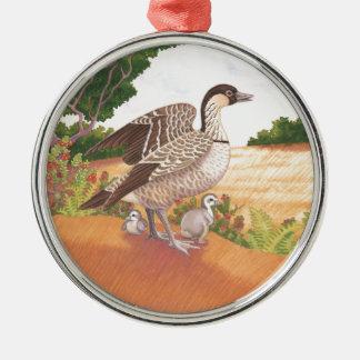 Sunrise Nene (Hawaiian Goose) Silver-Colored Round Ornament