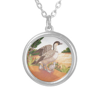 Sunrise Nene (Hawaiian Goose) Silver Plated Necklace