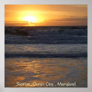 Sunrise, Ocean City , Mar... Poster