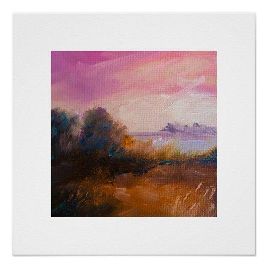 Sunrise Oil Painted Landscape Poster