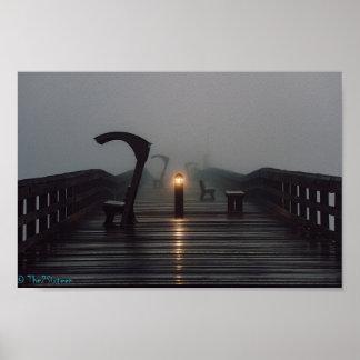 Sunrise on a foggy Pier Poster