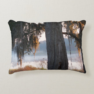 Sunrise on a small misty lake in the South Decorative Pillow